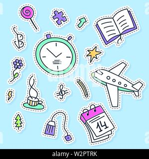 Set of hobby trip element stickers, pins, patches and handwritten collection in cartoon style. Funny greetings for clothes, card, badge, icon, postcar - Stock Photo