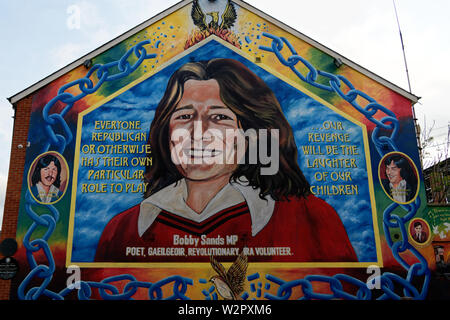 Bobby Sands mural on the Falls Road,Belfast city, Northern Ireland. - Stock Photo