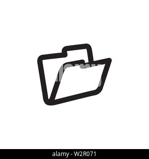 Folder Icon In Flat Style Vector For App, UI, Websites. Black Icon Vector Illustration. - Stock Photo