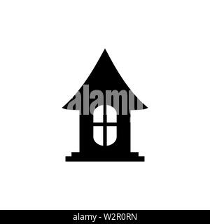 Home Icon In Flat Style Vector For App, UI, Websites. House Black Icon Vector Illustration. - Stock Photo