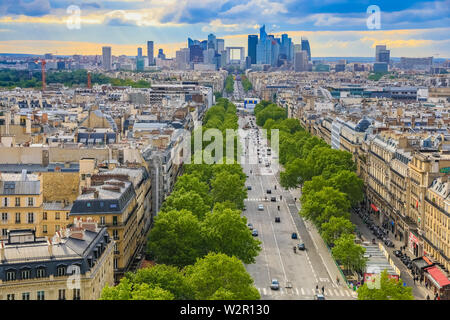 Great panoramic aerial view of the skyline of the business district La Défense in Paris with the Grande Arche seen from the Arc de Triomphe on the Axe... - Stock Photo
