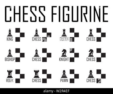 Chess Logo Concept Collection with Checkerboard. Chess Vector Illustration. Black Chess Icons Set. Six Objects Including King, Queen, Bishop, Knight, - Stock Photo