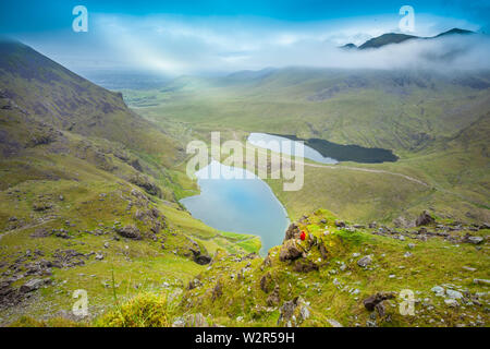 MacGillycuddy's Reeks, co. Kerry / Ireland : Spectacular landscape view from the the highest Irish mountains - Stock Photo