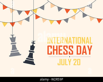 International Chess Day Vector Illustration on Light Background. Chess Vector Illustration. - Stock Photo
