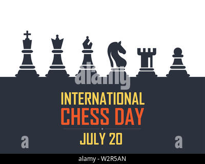 International Chess Day Vector Illustration on Dark Background. Chess Vector Illustration. Six Objects Including King, Queen, Bishop, Knight, Rook, Pa - Stock Photo