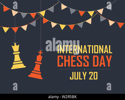 International Chess Day Vector Illustration on Dark Background. Chess Vector Illustration. - Stock Photo