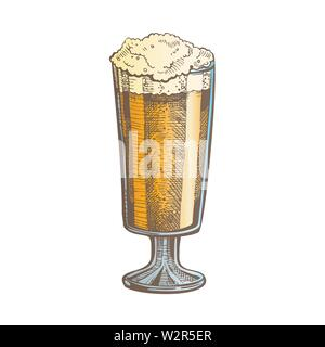 Hand Drawn Color Glass With Froth Bubble Beer Vector - Stock Photo