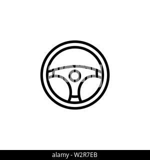 Car Steering Wheel Vector In Flat Style. Black Car Drive Icon Vector Illustration - Stock Photo