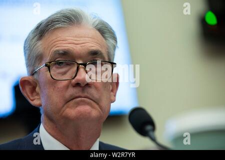 Washington, United States Of America. 10th July, 2019. Chair of the Federal Reserve Jerome Powell testifies before the House Financial Services Committee on Capitol Hill in Washington, DC, U.S. on July 10, 2019. Credit: Stefani Reynolds/CNP | usage worldwide Credit: dpa/Alamy Live News - Stock Photo