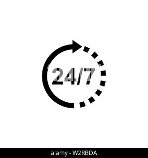 Support 24/7 Icon In Flat Style Vector For Apps, UI, Websites. Black Icon Vector Illustration. - Stock Photo