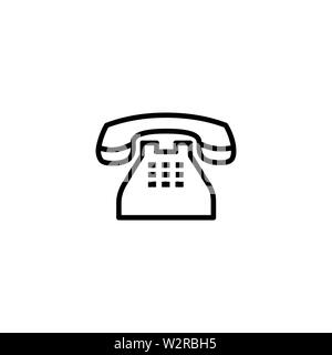 Telephone Line Icon In Flat Style Vector For Apps, UI, Websites. Black Icon Vector Illustration. - Stock Photo