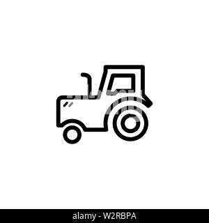 Tractor Line Icon In Flat Style Vector For Apps, UI, Websites. Black Icon Vector Illustration. - Stock Photo