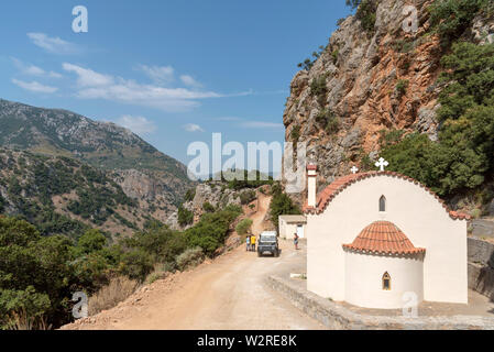 Crete, Greece. June 2019. The Church of Virgin Mary on the Embassa Gorge in the central Cretan mountains. - Stock Photo