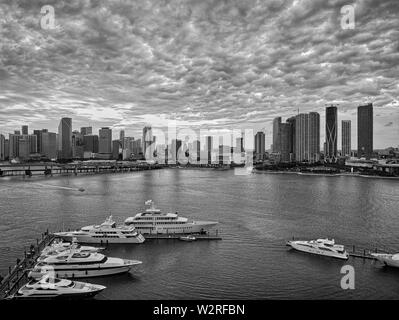 Aerial view of Bay in Miami Florida, USA - Stock Photo
