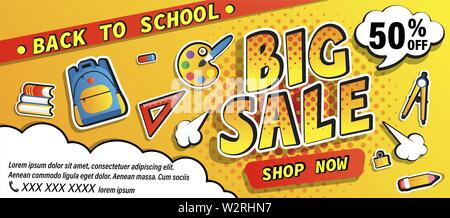 Back to school big sale promotion banner, shop now offer with halftone. Half price discount card with school equipment, backpack, books. Template for