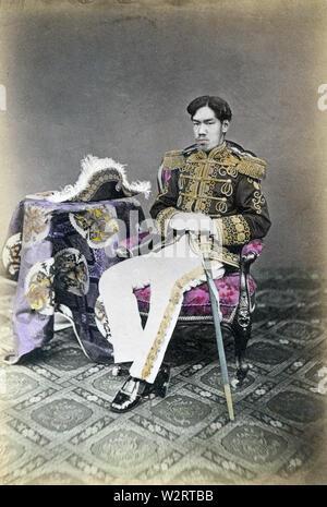 [ 1870s Japan - Emperor Meiji ] —   Emperor Meiji (1852–1912) was the 122nd emperor of Japan. Ca. 1873 (Meiji 6).  19th century vintage albumen photograph. - Stock Photo