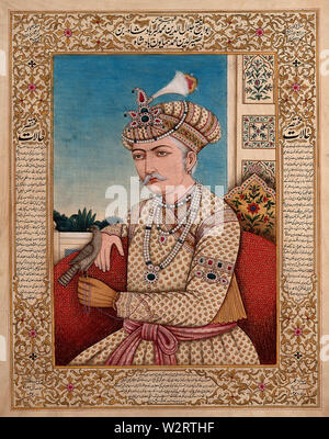 A Mughal emperor or member of a royal family, with a falcon  pirched on his hand. Gouache painting by an Indian painter. - Stock Photo