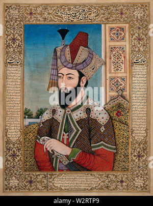 A Mughal emperor or member of a royal family. Gouache painting by an Indian painter between 1800 and 1899 - Stock Photo