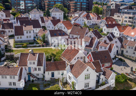 Elevated view of Gamle Stavanger (Old Stavanger) Norway with its wooden buildings and narrow streets. - Stock Photo
