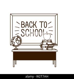 silhouette of chalkboard of school in classroom - Stock Photo
