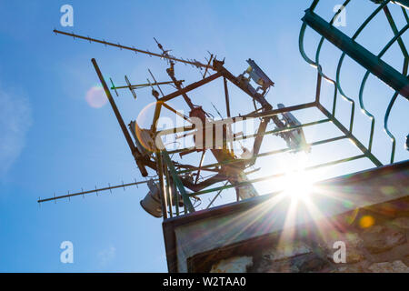 Telecommunication mast with antennas on top of lookout tower, Karoly-kilato, Sopron, Hungary - Stock Photo