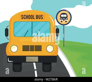 road scene with stop bus signal vector illustration design - Stock Photo