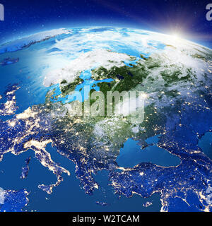 Central Europe from space - Stock Photo