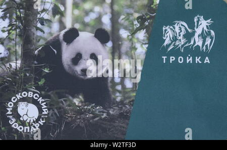 Moscow. 10th July, 2019. The photo taken on July 10, 2019 shows a limited edition metro card Troika with a giant panda image in Moscow, Russia. Moscow subway released a limited edition of 10,000 metro cards with Chinese giant panda images to mark the 155th anniversary of Moscow Zoo that accepted two giant pandas Ru Yi and Ding Ding in late April from China. Credit: Evgeny Sinitsyn/Xinhua/Alamy Live News - Stock Photo