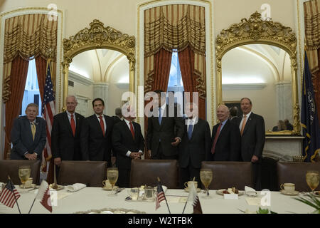 Washington, District of Columbia, USA. 10th July, 2019. Members of the Senate Foreign Relations Committee meets with Qatari Emir Sheikh Tamim bin Hamad Al Thani on Capitol Hill in Washington, DC, U.S. on July 9, 2019. Credit: Stefani Reynolds/CNP/ZUMA Wire/Alamy Live News - Stock Photo