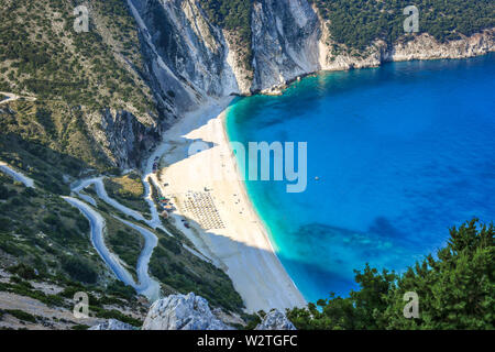 Famous beach Mirtos on Kefalonia island, one of the most idyllic beaches of the Greek islands. - Stock Photo