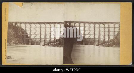 Falls & Bridge, Portage, NY, by Knight, W M, 1841-1881 2 - Stock Photo