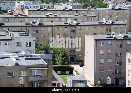 Communist era apartment buildings in Wladyslawowo, Poland. June 25th 2019 © Wojciech Strozyk / Alamy Stock Photo - Stock Photo