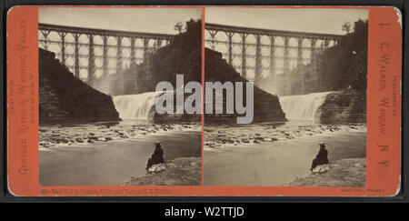 First Fall in Genesee River, and Portage RR Bridge, from Robert N Dennis collection of stereoscopic views - Stock Photo