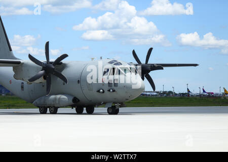 Otopeni, Romania - May 22, 2019: Alenia C-27J Spartan military cargo plane from the Italian Air Force landed in an airbase during a drill. - Stock Photo