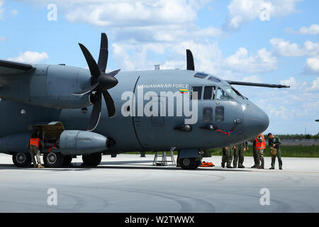 Otopeni, Romania - May 22, 2019: Alenia C-27J Spartan military cargo plane from the Lithuanian Air Force landed in an airbase during a drill. - Stock Photo