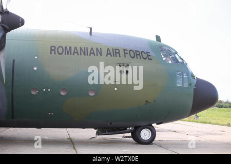 Bucharest, Romania - May 22, 2019: Lockheed C-130 Hercules military cargo airplane on the The Romanian Air Force 90th Airlift Base. - Stock Photo