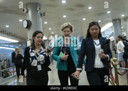 Washington, District of Columbia, USA. 10th July, 2019. United States Senator Elizabeth Warren (Democrat of Massachusetts) arrives to a closed door briefing on American election security on Capitol Hill in Washington, DC, U.S. on July 10, 2019. Credit: Stefani Reynolds/CNP/ZUMA Wire/Alamy Live News - Stock Photo