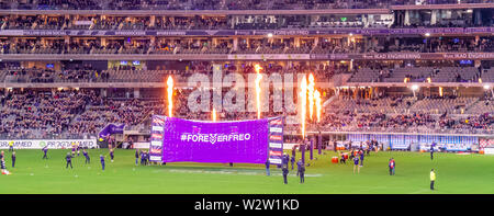 Fremantle Dockers banner in Western Derby AFL game at Optus Stadium Perth Western Australia. - Stock Photo