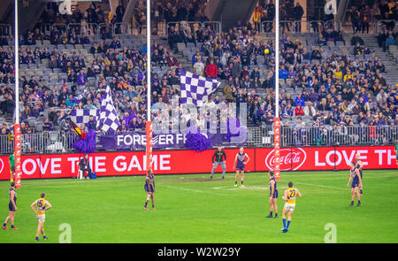 West Coast Eagles footballer Jack Darling kicking for goal in a Western Derby AFL game at Optus Stadium Perth Western Australia. - Stock Photo