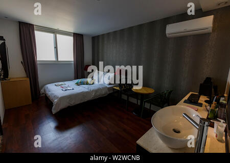 Busan, APR 3: Interior view of a hotel room on APR 3, 2014 at Busan, South Korea - Stock Photo