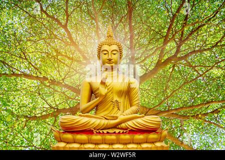 Golden Buddha image under the Bodhi leaf, natural background - Stock Photo