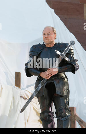 Worms, Germany. 10th July 2019. Actor Klaus Maria Brandauer (as Hagen) is pictured at the press rehearsal of the 'Nibelungenfestspielen' in Worms. The play in the 18. Season of the Nibelungen-Festspiele (Nibelung Festival)  is called 'Uberwaltigung' (Overcoming) from author Thomas Melle, and is directed by Lilja Rupprecht. It is a retelling of the original Song of the Nibelungs, starting at the end and attempting to rewrite the story to a better, less deadly attempt. - Stock Photo
