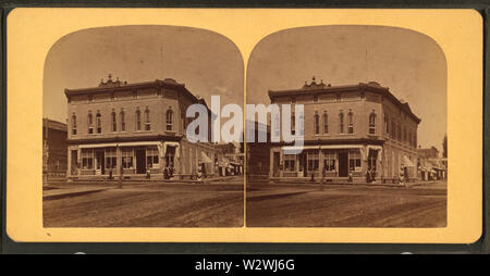 John Graham's Store, Portage, Wis, from Robert N Dennis collection of stereoscopic views - Stock Photo