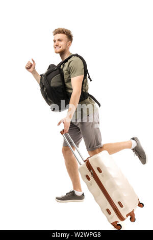 Running young tourist on white background - Stock Photo