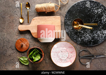 Set of kitchenware on grey background - Stock Photo