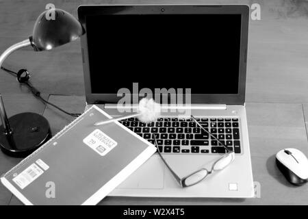 It's a student scene in black and white - Stock Photo