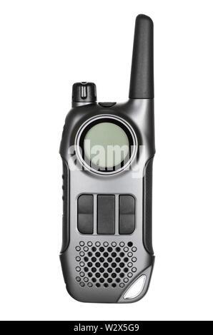 Gray walkie-talkie radio isolated on white background - Stock Photo