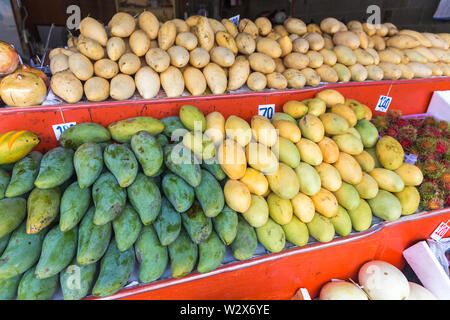 Yellow Mango on Thailand market - exotic thai fruits - Stock Photo