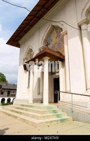 Ilfov, near Bucharest, Romania - April 30, 2019: Entrance to orthodox Cernica Monastery.