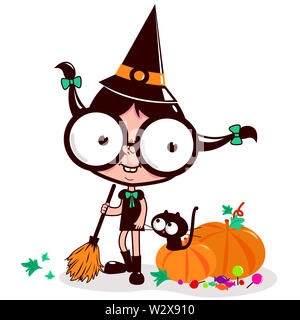 Illustration of a witch and her cat sweeping pumpkin leaves with her broom on Halloween night. - Stock Photo
